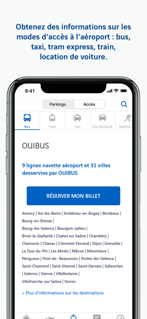 Ecran application Lyon Aéroport iPhone X